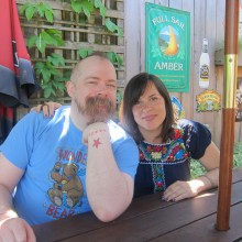 Film character, Wonder Woman collector, scholar, activist and enthusiast, Andy Mangels with Kristy